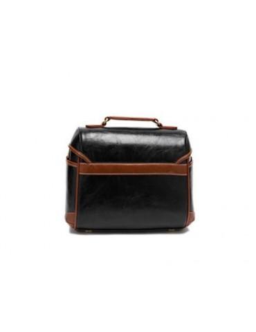 Retro DSLR Leather Shoulder Bag with Detatchable Strap - Black