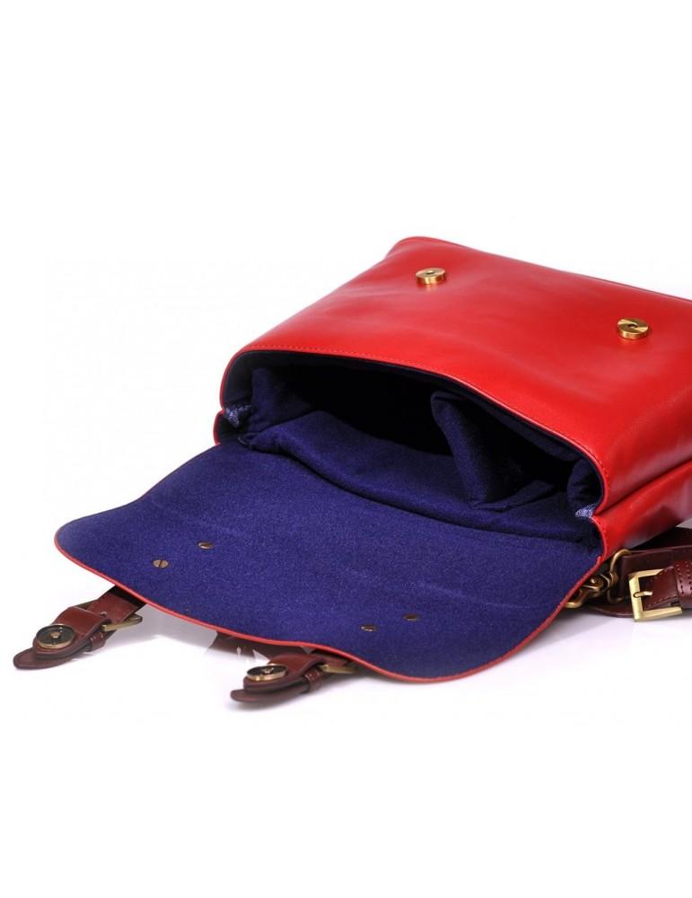 Vintage Leather Shoulder Bag for DSLR SLR Camera - Red