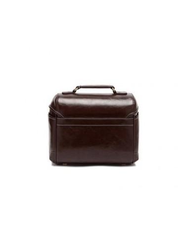 Retro DSLR Leather Shoulder Bag with Detatchable Strap - Dark Brown