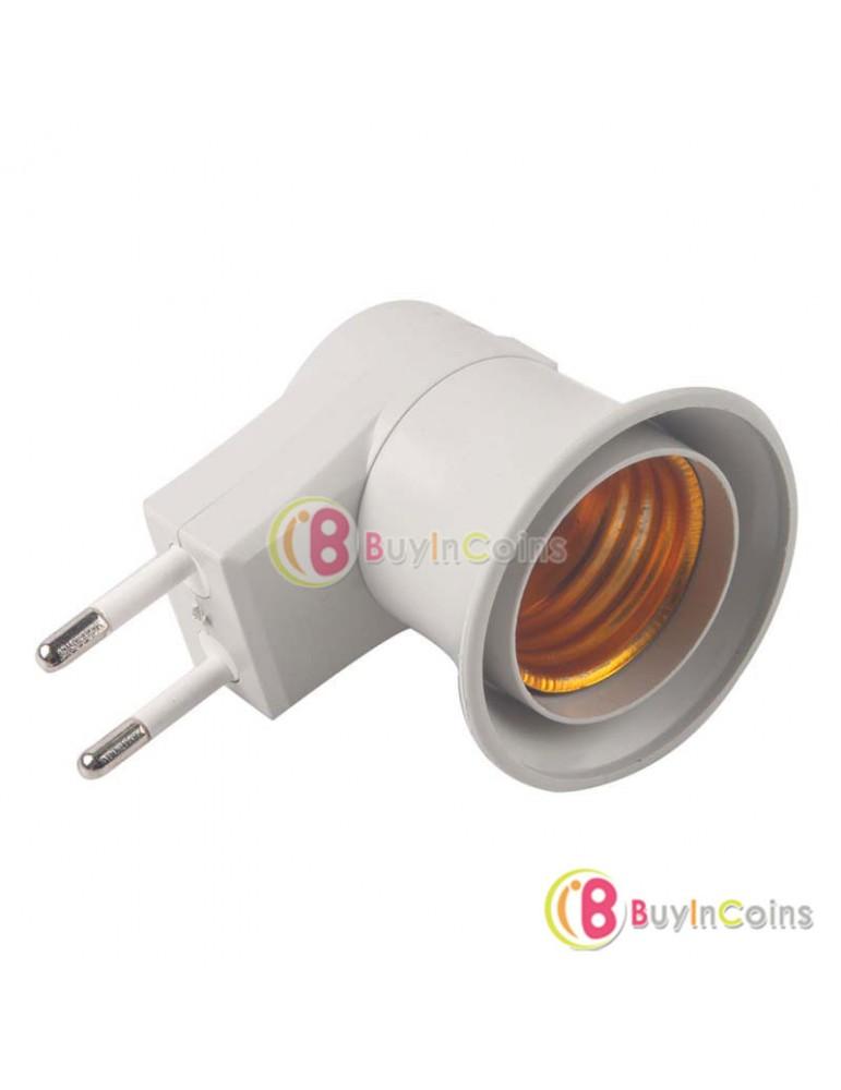 10 X E27 LED Light Male socket to EU Type Plug Adapter Converter W/ ON OFF Button