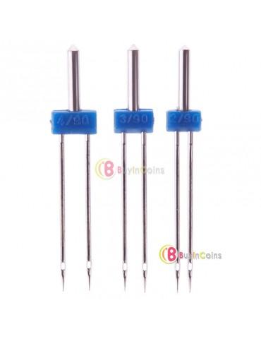 3Pcs Needle Size 2.0/90 3.0/90 4.0/90 Double Twin Sewing Machine Needles Pins